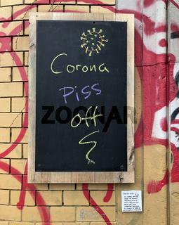 kreidetafel - corona piss off