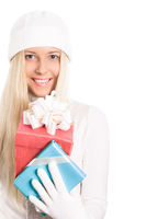 Young woman celebrating Christmas time, happy smile