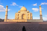 Famous Taj Mahal and a tourist, Agra, Uttar Pradesh, India