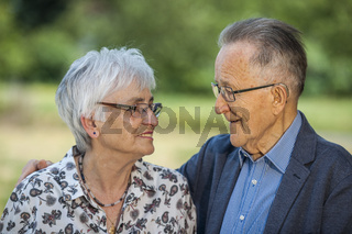 Retired couple in love