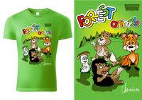 Grünes Kinder Hemd Design mit Cartoon Waldtieren