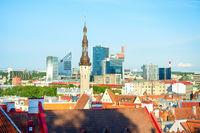 Aerial cityscape,Tallinn downtown, Estonia