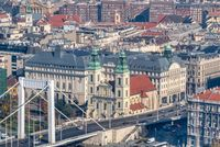Historical part of city Budapest, Hungary with old buildings and Elisabeth Bridge.