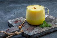 Saffron latte with almond milk.