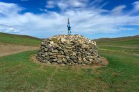 Sacred stone heap in Mongolia