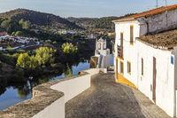 Altstadt von Mertola mit Rio Guadiana, Alentejo, Portugal, old town of Mertola with Guadiana river, Alentejo, Portugal