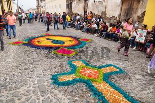 Alfombre, carpets made of coloured sawdust for the procession San Bartolome de Becerra, Antigua, Guatemala