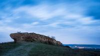 Rock called Hölzlstein near Oggau in Burgenland before sunrise
