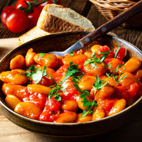 Rustic giant beans with fresh tomato sauce