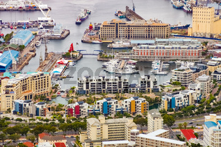 Elevated view of the VA Waterfront in Cape Town harbor