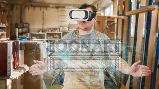 Möbelbauer mit VR-Brille visualisiert Kommode