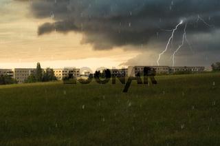 Lightening strike during an urban thunderstorm
