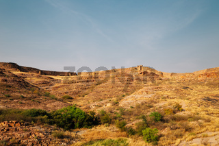 Fortress wall on the hill in Jodhpur, India