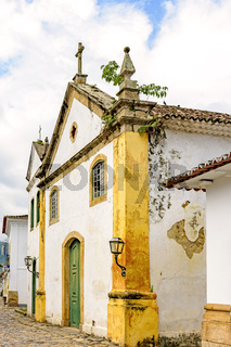 18th century church on the streets of the historic city of Paraty