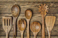 wooden kitchen cooking utensils set