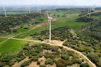 Aerial view of windmills farm for clean energy production on beautiful cloudy sky. Wind power turbines generating clean renewable energy for sustainable development.