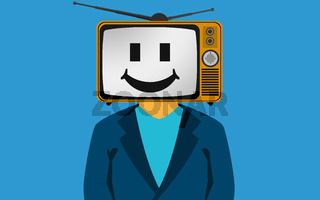 TV on the head of a man with smily face