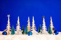 Christmas Tree, Snow, Blue Star, Ball, Copy Space, Blue Background