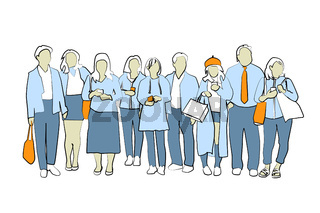 crowd of people illustration,  vector set of men and women