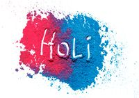 Colorful traditional powder with Holi sign, isolated on white, Hindu spring Holi Festival. Indian traditional spring color Festival