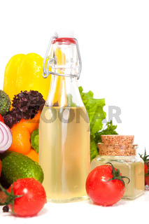 vegetables and oil in a vessel