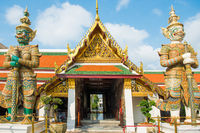 View of gates to Grand Palace with demon guardians. Bangkok, Thailand