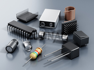 Spare electronic parts isolated on gray background. 3D illustration