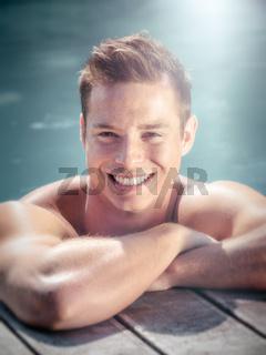 handsome man pool