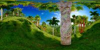 Tropical park in the afternoon 3d rendering