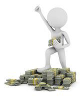 man on piles of bundles of money