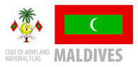 Vector set of the coat of arms and national flag of Maldives
