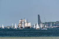 KIEL, GERMANY - SEPTEMBER 12, 2020: At the end of the Kiel Week 2020 a windjammer parade took place on the Kiel Fjord.