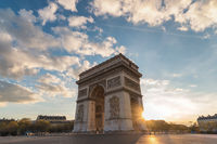 Paris France city skyline sunset at Arc de Triomphe and Champs Elysees empty nobody