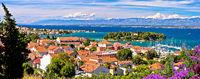 Zadar archipelago. Island of Ugljan waterfront and Galovac islet panoramic view
