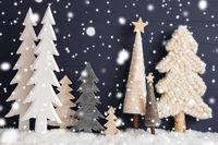 Christmas Trees, Snow, Black Wooden Background, Star, Snowflakes