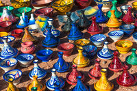 Colorful ceramic tajines in the market, Morocco