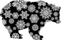 Christmas card bear in snowflakes on a white background