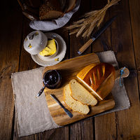 white bread with butter and delicious jam