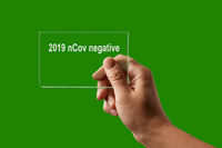 Hand with negative test for 2019 nCov.