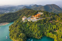 aerial view of Sun Moon Lake with Wen Wu temple