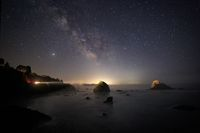 The Milky Way Over a Rocky Beach