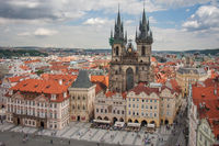 View from town hall at Church of Our Lady, Praha