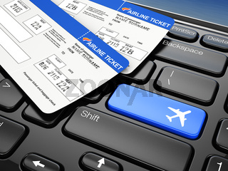 Online booking airplane tickets. 3d