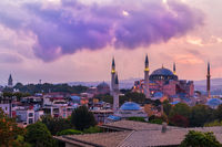 Hagia Sophia before the thunderstorm, twilight view, Istanbul, Turkey