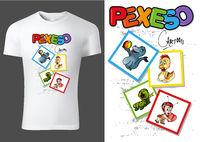 Weißes Kinder T-shirt Design mit Karten von Cartoon Tierfiguren