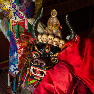 The mask used at the Cham Dance Festival