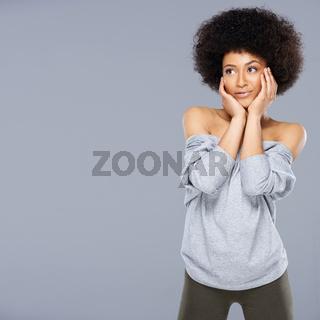 Thoughtful sexy beautiful African American woman