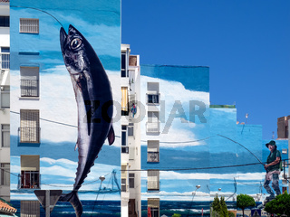 ESTEPONA, ANDALUCIA/SPAIN - MAY 5 : Fishing Day mural by Jose Fernandez Rios in Estepona Spain on May 5, 2014