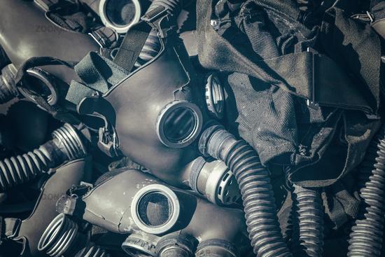 Background of old vintage gas respirator masks