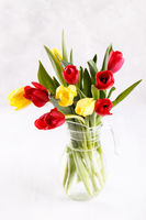 Bouquet of red and yellow tulip